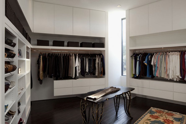 Large Walk In Closet With White Cabinets