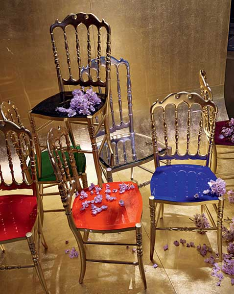 dining chairs with colorful seats