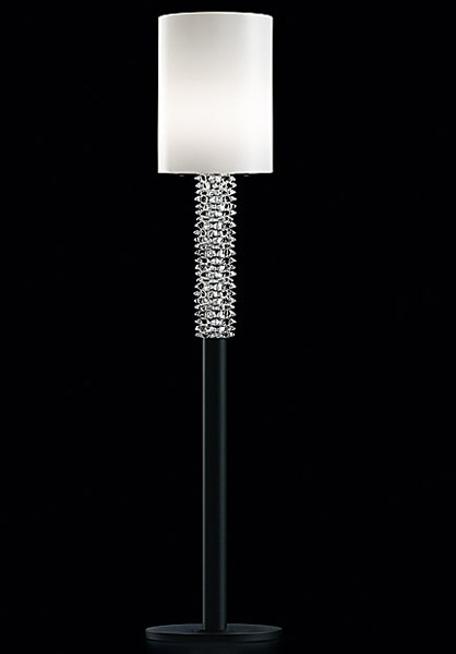 contemporary floor lamp with glass details
