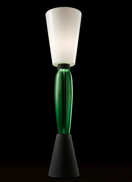 modern lamp with green glass in retro style