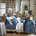 bedroom decor in white and blue colors