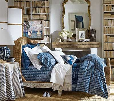 Home Furnishings From Ralph Lauren Home, Modern Interior Decorating Ideas.  Bedroom Decor In White And Blue Colors