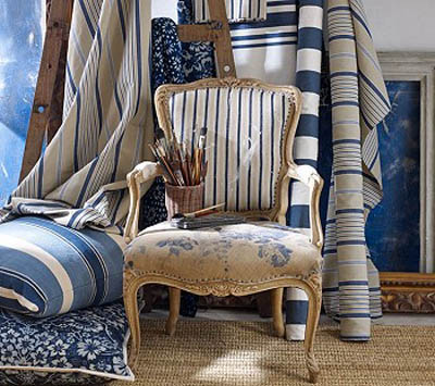 chir upholstery and home fabrics in white and blue colors
