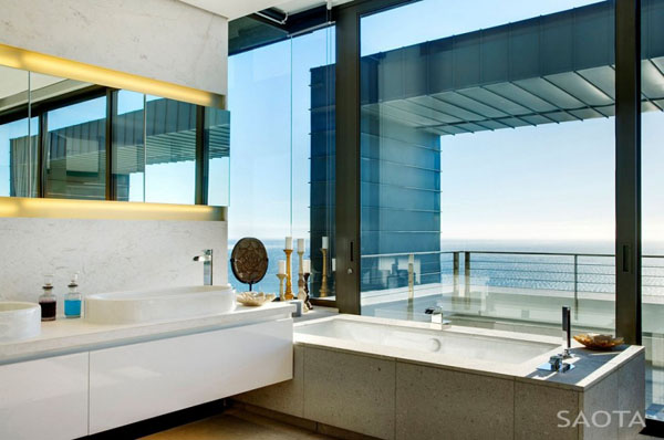modern bathroom design with large window