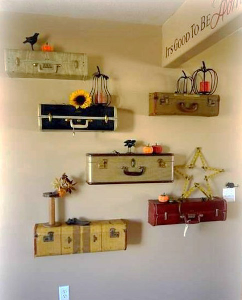 wall decoration with vintage suitcases