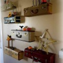 recycling suitcases for wall shelves