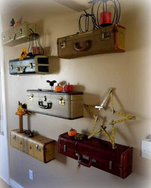 Diy suitcase chair - Recycling Old Suitcases For Wall Shelves Vintage Furniture