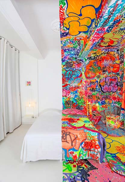 bedroom decor and graffiti painting