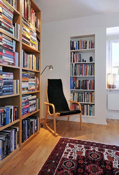 book shelves and chair