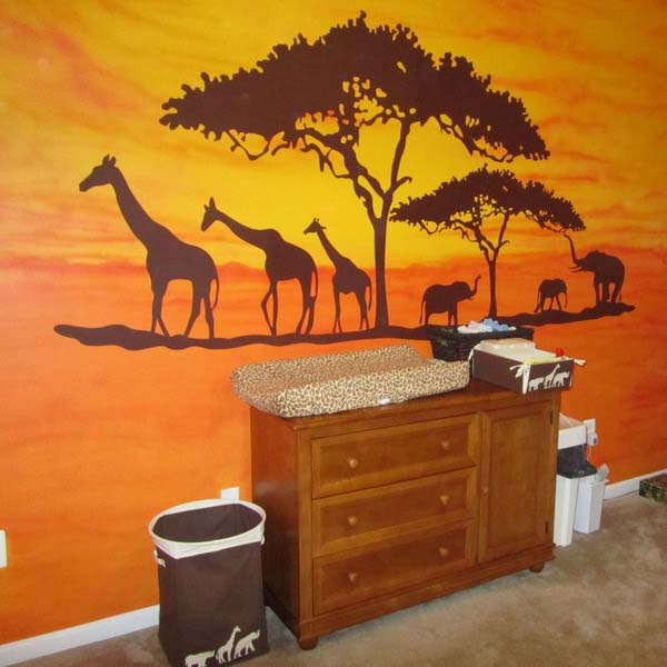 african animals and trees for wall decoration