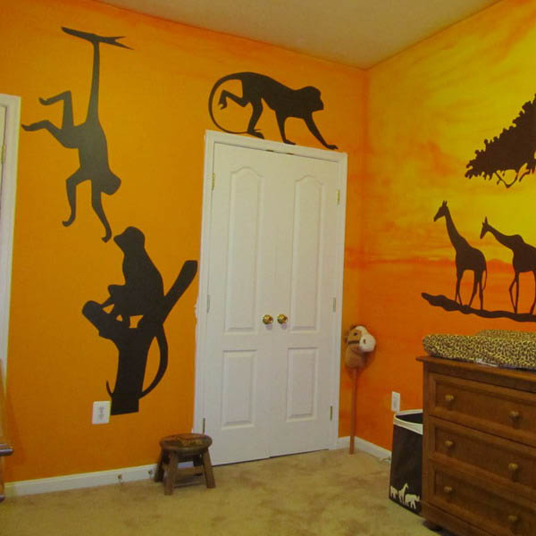 african animals and orange brown colors for toddler room decorating