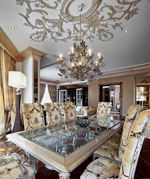 dining furniture set and large chandelier