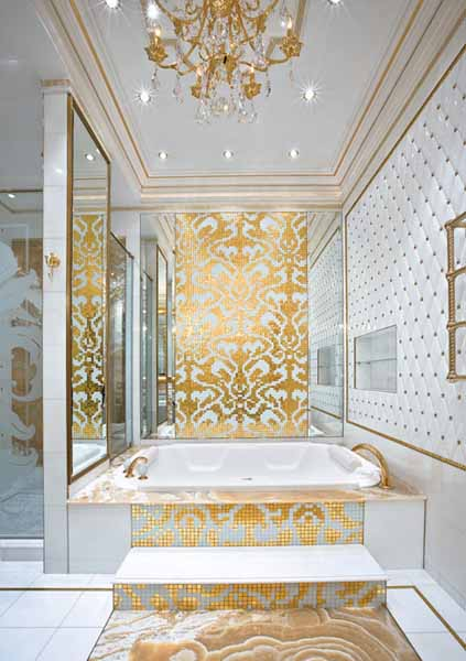 bathroom design with mosaic tiles in white and golden colors