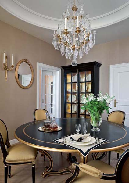 dining table in black and gold colors