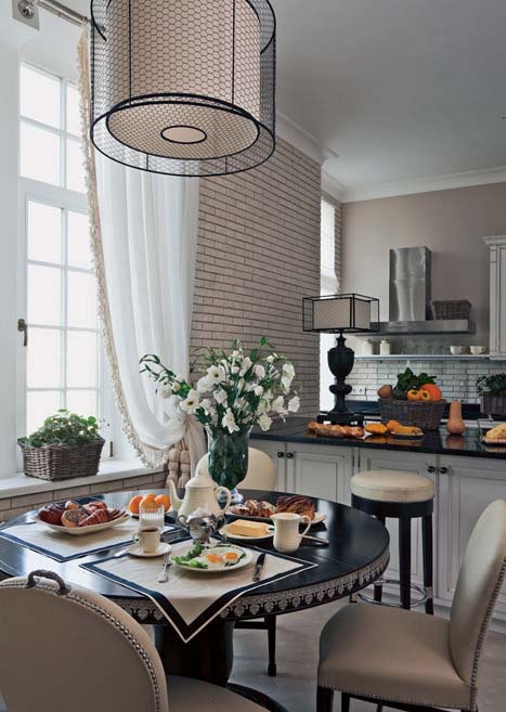 Dining Table And Modern Ceiling Light ...