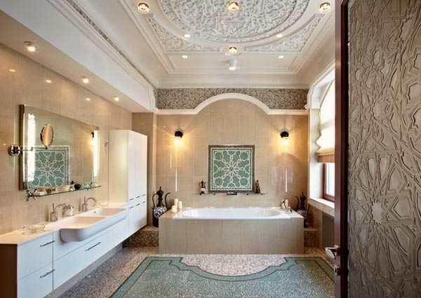 bathroom decorating with mosaic tiles and arabic decor accessories