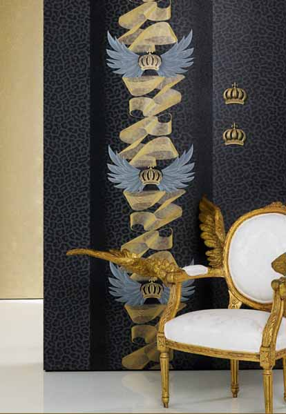 royal blue walpaper with golden designs