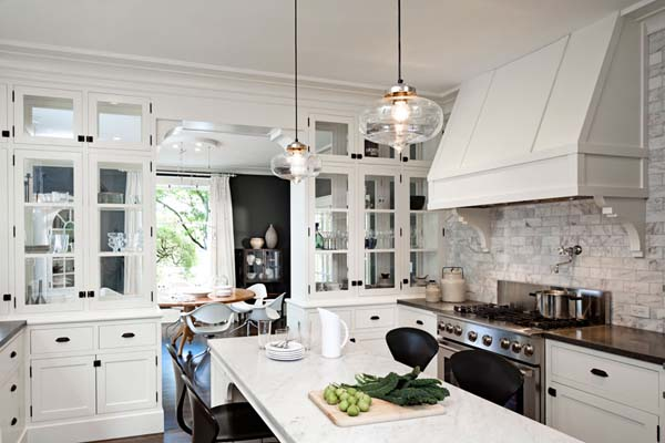 White Kitchen Decorating Ideas, Glass Lighting And Stainless Steel  Appliances Part 63