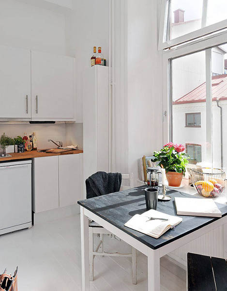 black and white kitchen table