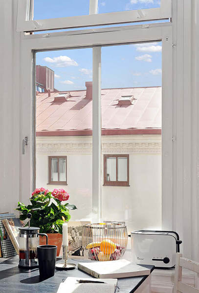 kitchen window with pinkish red flowers