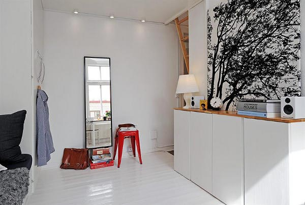 black white and red rooms