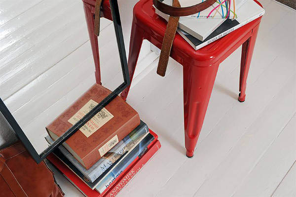 red stool for kitchen decorating