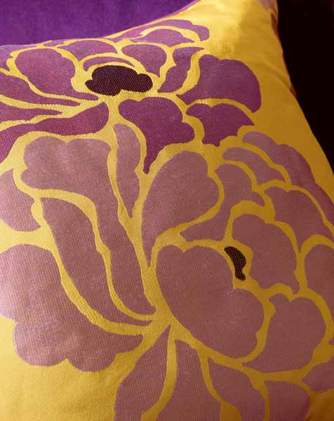 yellow and purple decorating fabric