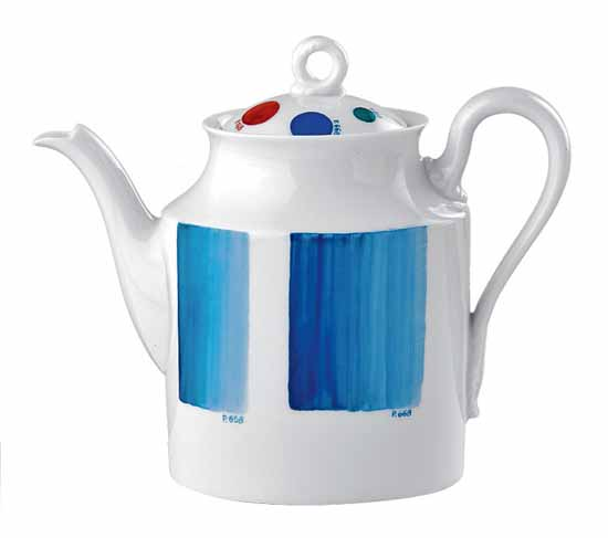 tea pot with blue strips