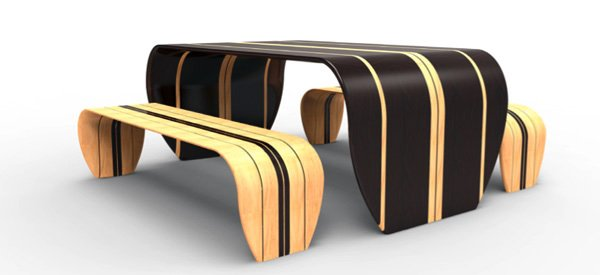 striped wood table and benches