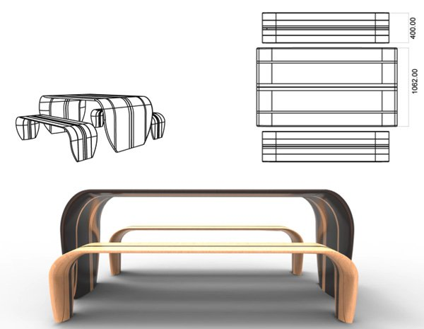 surfboard table and benches