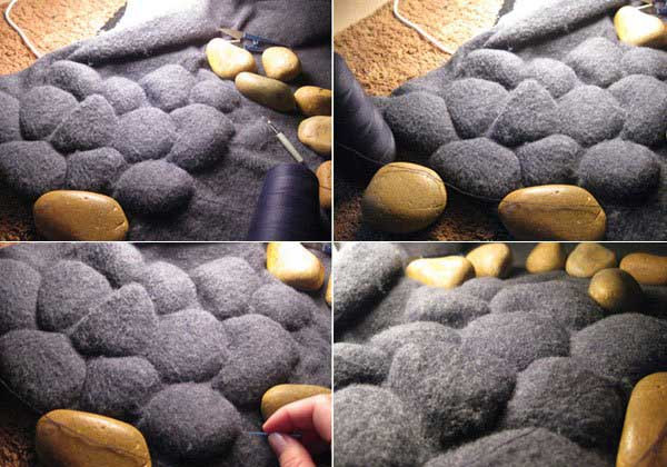 floor rug made with pebbles and fabric