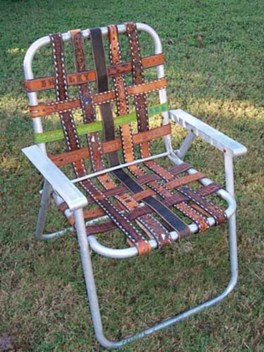Recycling Old Folding Lawn Chair for Unique Furniture Piece