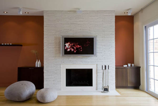 contemporary fireplace on white wall