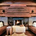 living room fireplace decorated with wood
