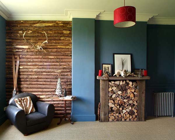 decorative fireplace with wood