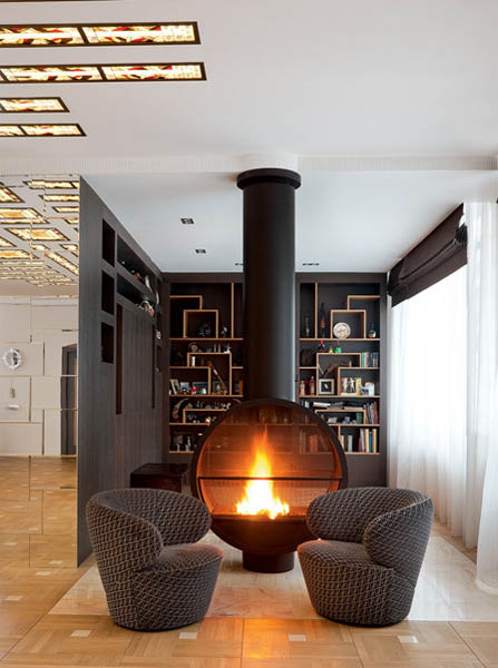 contemporary fireplace in center of living room