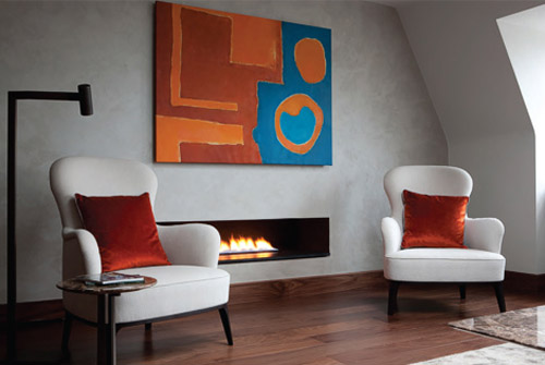 fireplace and two chairs