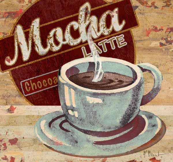 coffee decor, antique poster mocha