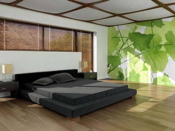 green leaves digital prints for bedroom decorating