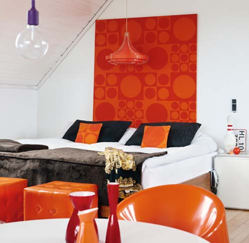 retro furniture and decor accessories in orange and red colors