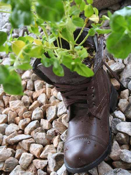 boot planter for backyard decorating