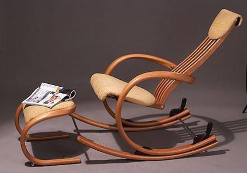 wooden chair and footrest