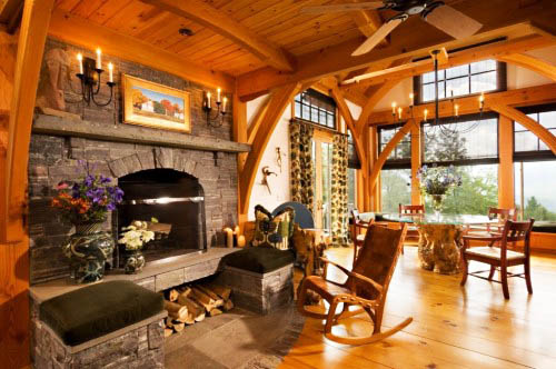 living room design with stone fireplace and bamboo chair