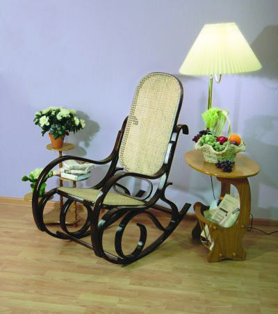 rattan chair and floor lamp