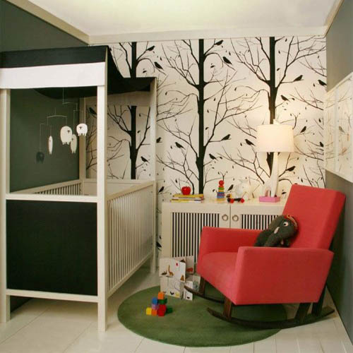 red chair in baby room