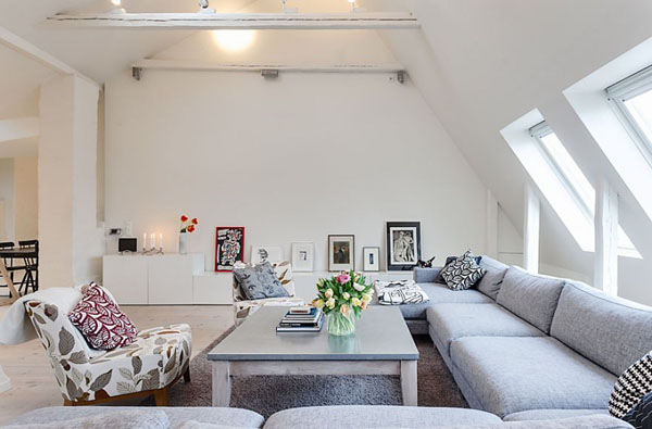 Medium Attic Living Room Design White Decorating Ideas Living Room Design In Swedish Style