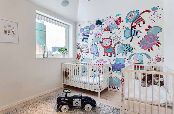 colorful wall decoration in baby room