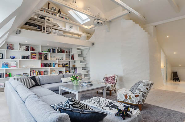 Swedish Design House scandinavian house, white decorating ideas, attic penthouse in sweden