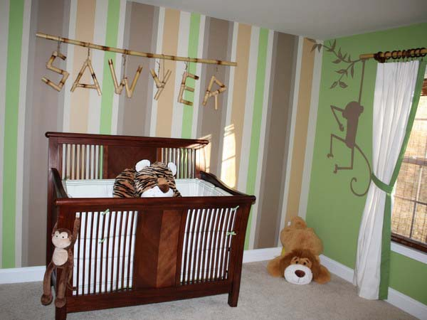 striped wallpaper for toddler room