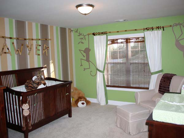 brown green color scheme for kids room